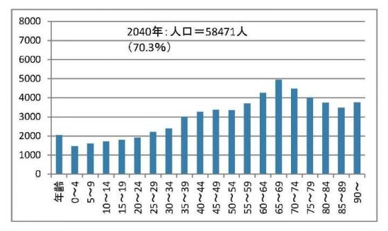 石岡市の年齢別人口推移4