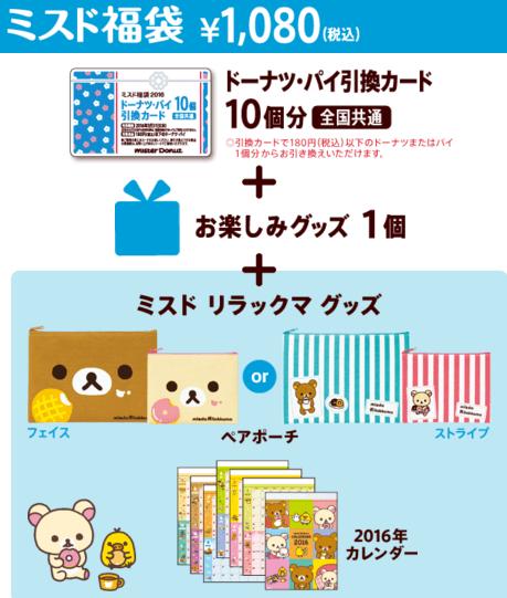 ミスド福袋2016の中身ネタバレ-1000円u30001080円