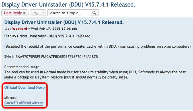 Display Driver Uninstaller DDU V15.7.4.1 Download