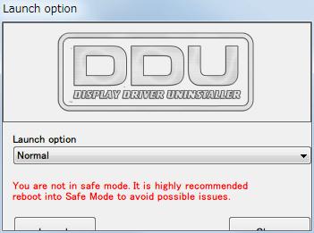Display Driver Uninstaller DDU V15.7.5.2、Launch option 画面
