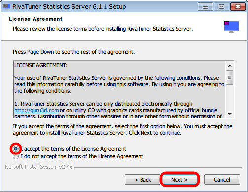 RivaTuner Statistics Server インストール、License Agreement 画面、「I accept the terms of the License Agreement」 を選択して 「NEXT」ボタンをクリック