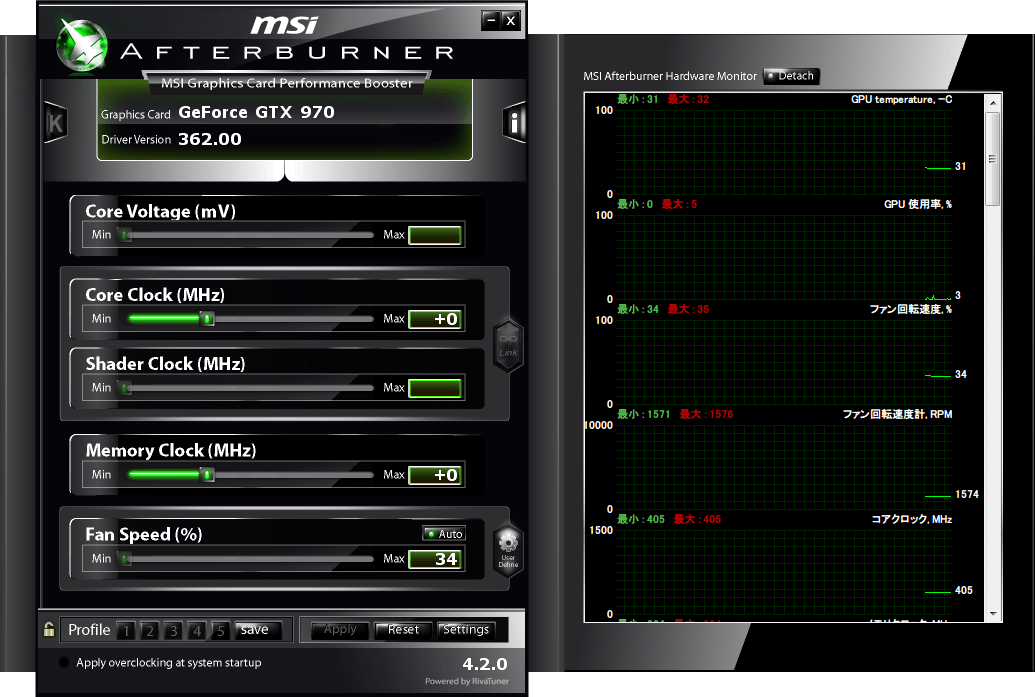 MSI Afterburner 4.2.0 GIGABYTE GV-N970G1 GAMING-4GD