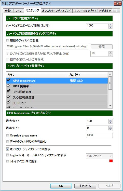 MSI Afterburner モニタリングと各種設定変更 編