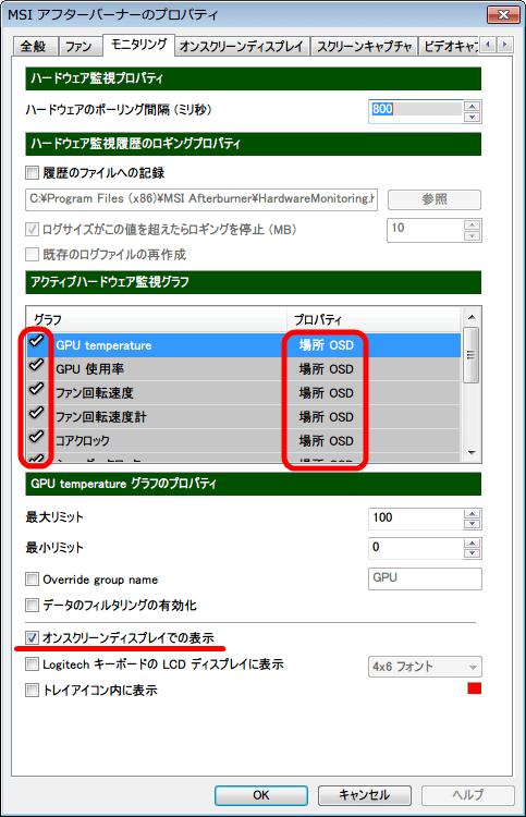 MSI Afterburner Version 2.3.1 「モニタリング」 タブ モニタリングしたい 「アクティブハードウェア監視グラフ」項目をクリックしたところにチェックマーク