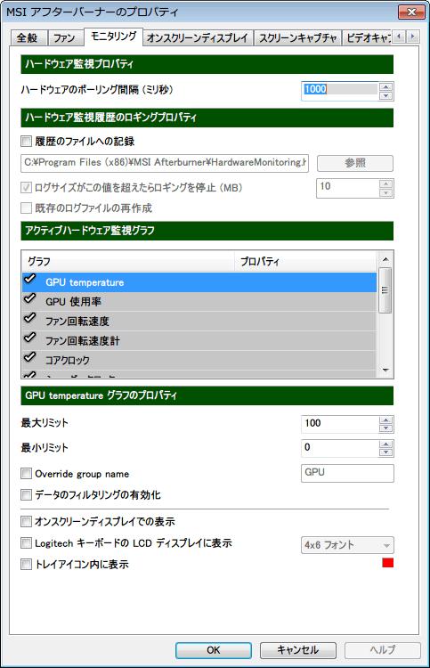 MSI Afterburner Version 2.3.1 「モニタリング」 タブ初期設定