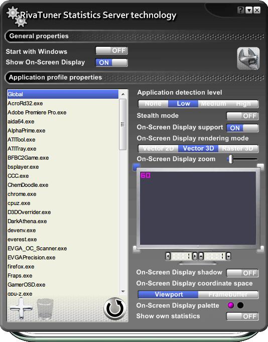 MSI On-Screen Display server v4.5.0 画面