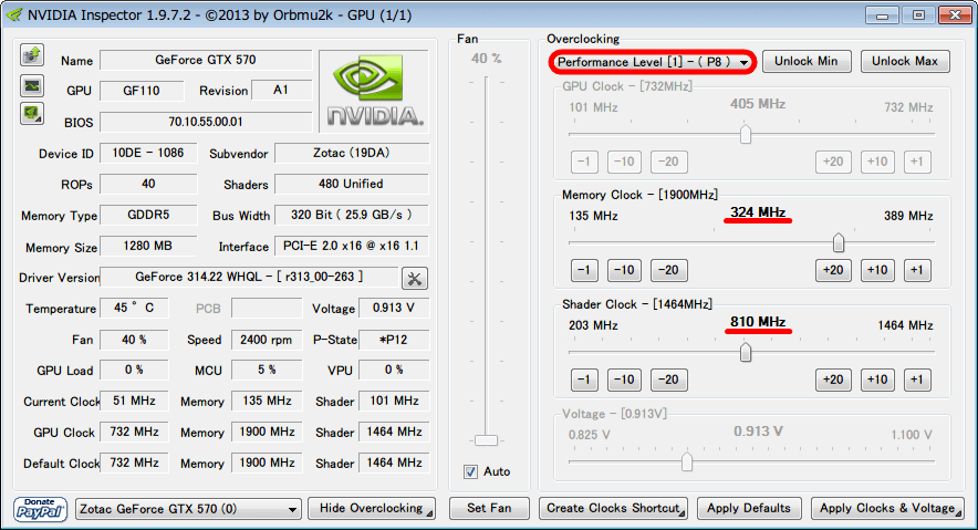 NVIDIA Inspector 1.9.7.2 Orbmu2k Performance Level [1] - (P8) Memory Clock 324MHz Shader Clock 810MHz