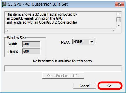 GPU Caps Viewer、OpenCL ベンチマーク設定画面 Go!ボタンをクリック