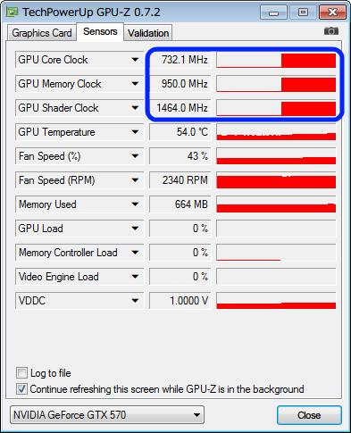 GPU-Z Sensors タブ、省電力状態からフル稼働時の GPU クロックに移行