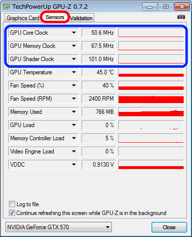 GPU-Z Sensors タブ、GPU クロック 省電力状態