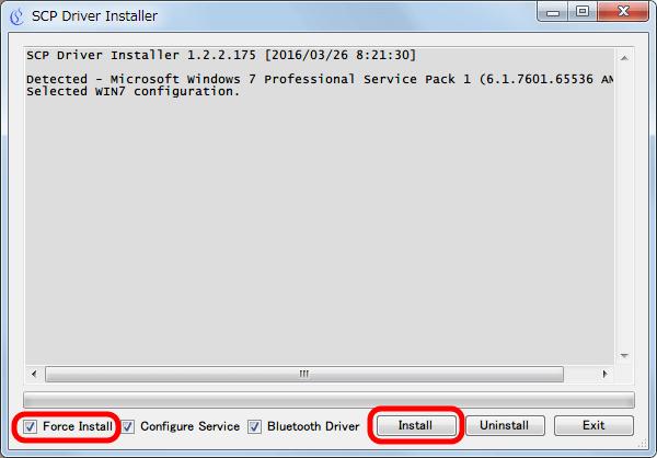 XInput Wrapper for DS3 インストール作業 Configure Service と Bluetooth Driver のほかに Force Install にチェックマークが入っていることを確認して Install ボタンをクリック