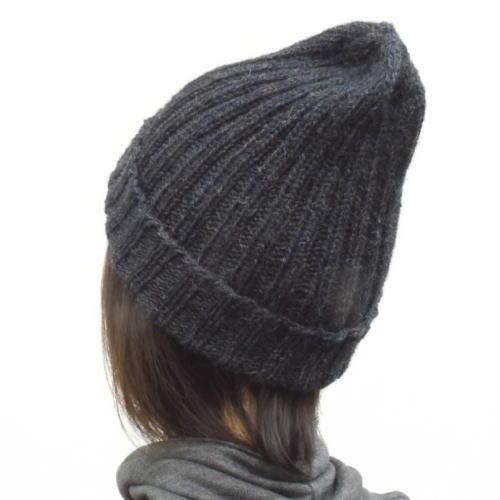 1198棒針編み二目ゴム編みとんがり帽子