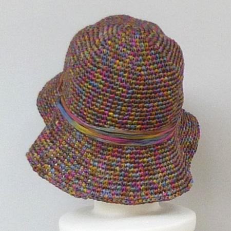 1312スーパー和紙リボン折りたたみOK女優帽つば長め