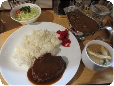 カレーライス+ハンバーグトッピング定食
