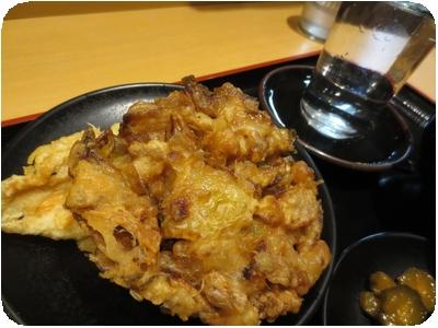 岩下の新生姜ミックス天そば+鶏ささみ天+八海山
