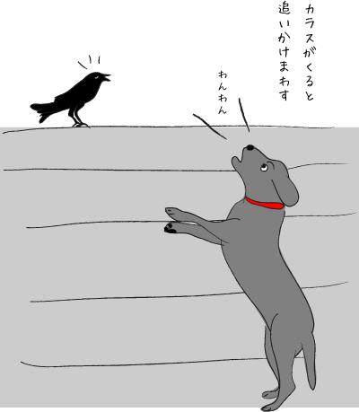 カラスと犬
