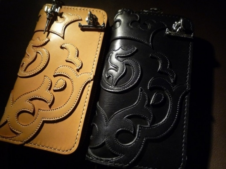 Saddle Leather Skull Round Zip Wallet On Atelier Mark[RZ-01]