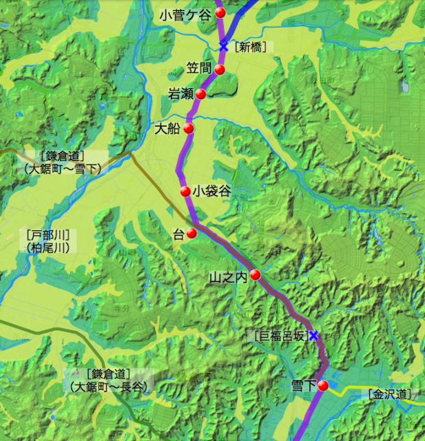 戸塚—鎌倉道と弘明寺道(南半分)