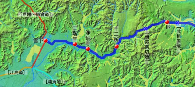 六浦道:鎌倉郡中の各村の位置