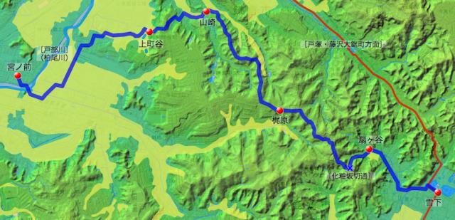 鎌倉古道㈠の概略の道筋と各村の位置