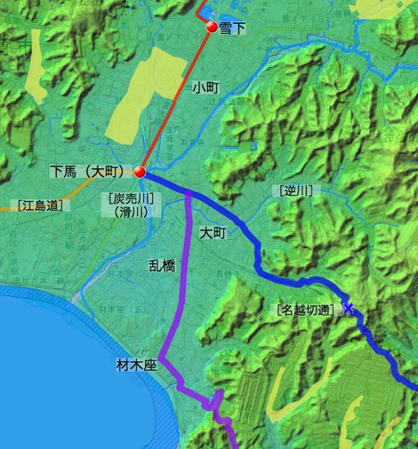 浦賀道:鎌倉郡中の各村の位置