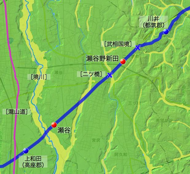 中原道:鎌倉郡中の各村の位置