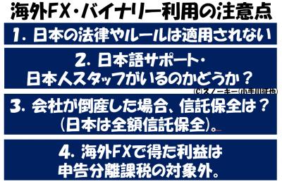 海外FX・バイナリー利用の注意点