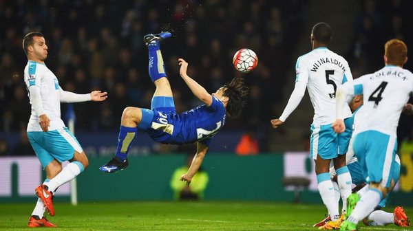 Okazakis stunning overhead kick sinks Newcastle and sends Leicester five points clear