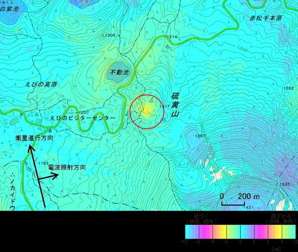 【霧島連山】国土地理院「えびの高原・硫黄山の火口周辺300メートルの範囲で隆起している」