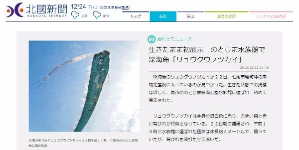 【日本海】石川県七尾市沖の定置網で「リュウグウノツカイ」を生きたまま捕獲!