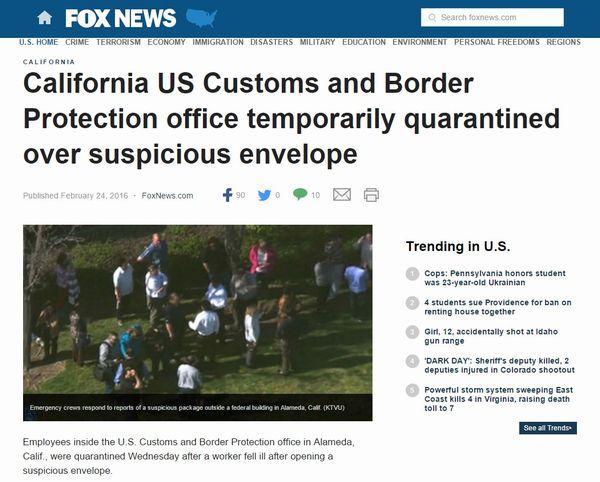 【アメリカ】カリフォルニア税関職員が「謎の粉末」を検査した直後に感染症を発症、50人を緊急隔離…当局は詳細を明らかにせず