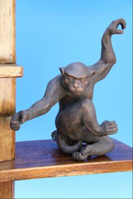 珍品 ラスト1点 最初から1点しかない 宜興の猿と鉢 吊り鉢セット