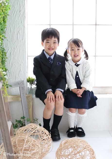 入学写真 兄妹写真
