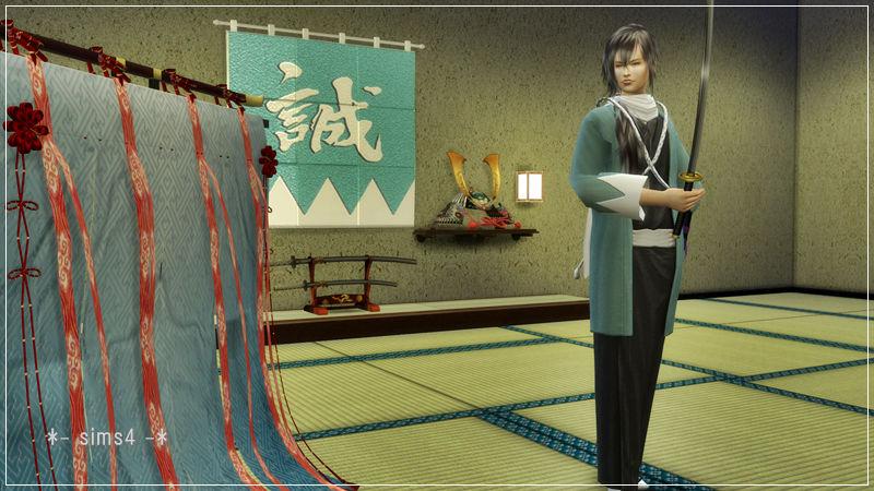 シムズ4 和装 着物 羽織り袴 新撰組隊服 斎藤一衣装 配布しました