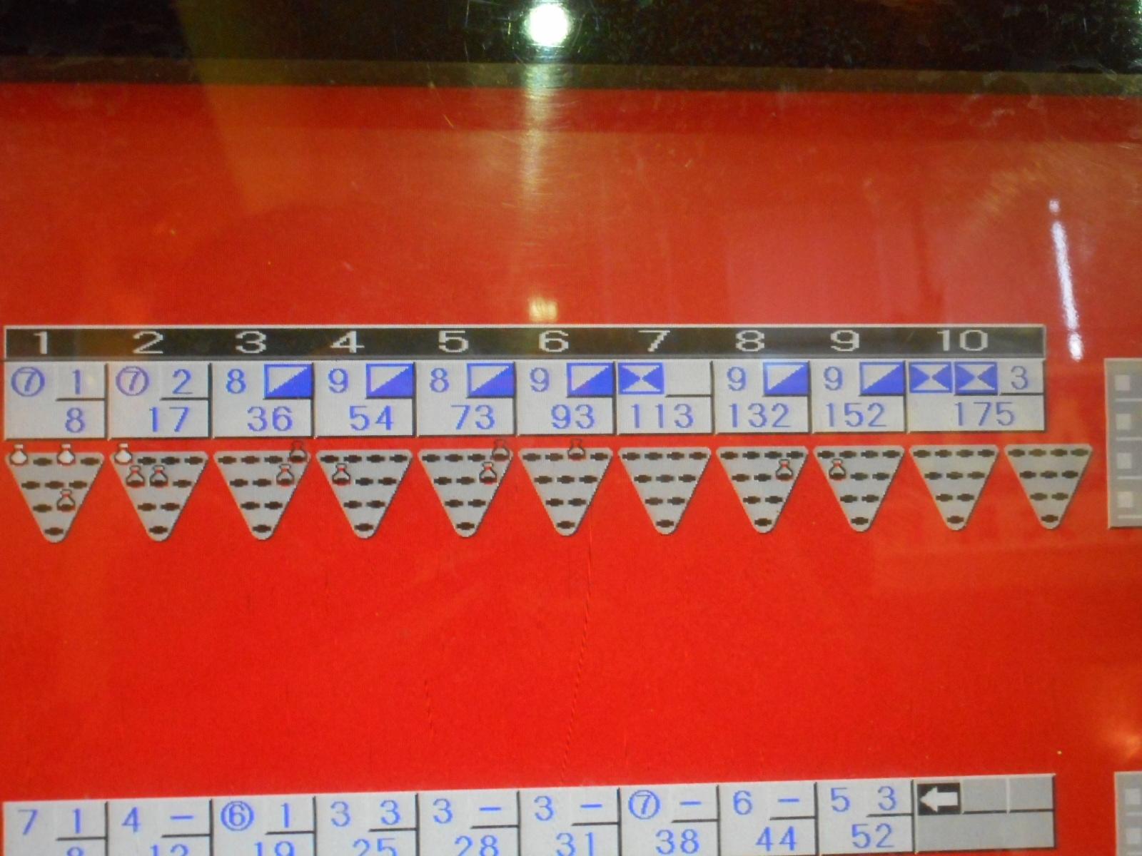 スコア表。1ゲームで175点と高得点