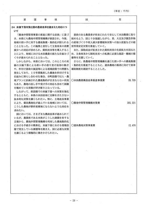 <民主党・無所属クラブ>当初予算・政策要望に対する知事回答!30