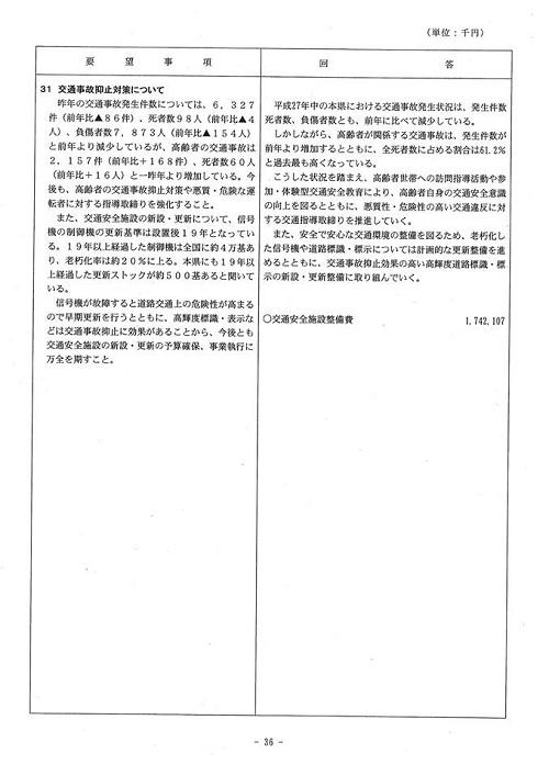 <民主党・無所属クラブ>当初予算・政策要望に対する知事回答!36