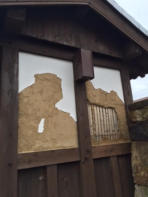 門の壁補修